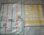 Vintage Kitchen Dish Towels Striped Cotton 5 New Old Stock Still In Pack