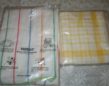5 Vintage Striped Cotton Kitchen Towels Never Used New In Pack