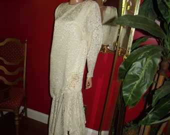 Great Gatsby Vintage Ivory  Dress Flapper style  Tea Party