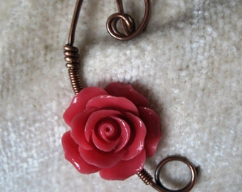 A Rose Copper Scarf Pin, Sweater Pin, Hat Pin, Shawl Pin, Closure, Accessory for Your Knits and Weaves