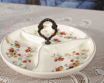 Vintage Handled Made in Japan handled divided dish Candy Pickles Olive Tray Metal Gothic Handle Flowers