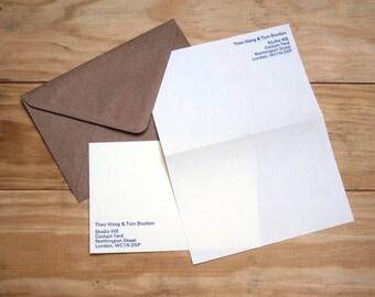 Personalised Letterpress Paper Stationery Set - Univers 12pt