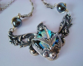 Custom One Of A Kind Necklace, Handmade Dichroic Jewel Of Gorgeous Iridescents, Ornate Metals Silver Soldered Together For A Quality Piece