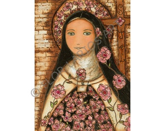 The Little Flower of Jesus - Reproduction from Painting by FLOR LARIOS (8 x 10 Inches Print)