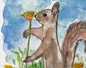A Tall Squirrel Smells A Flower - Original Watercolor Painting - Hand Painted Postcard