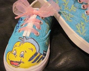 Flounder hand painted shoes from The Little Mermaid