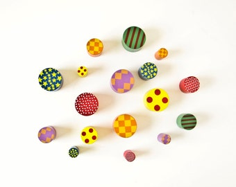 Colorful Small Wood Cylinders, Craft Jewelry Supplies, Geometric Designs