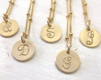 BlackFridaySpecial -  Gold Initial Necklace with French Script