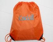 Cinch Sack Back Pack Orange Personalized Draw String School Bag Kayleigh Script Font