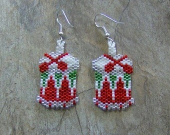 Drum Earrings Hand Made Seed Beaded