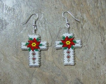 Poinsettia Cross Earrings Handmade Seed Beaded