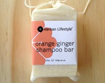 Orange Ginger Vegan Shampoo Bar Made with Organic Vegetable Oils