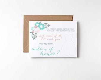 Matron of Honor Ask Will You Be My Bridesmaid Ask Eco Friendly Wedding Recycled Greeting Cards Wedding Party Bridal Party Invite