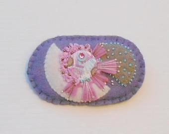 Felt Pin Abstract Modern Beaded Flower Brooch Art Style - in Plum Pink Raspberry Taupe White Aqua