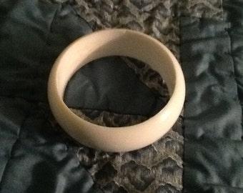 Wide white bangle bracelet