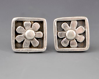 Kindness- Framed and Squared Flower Stud Post Earrings