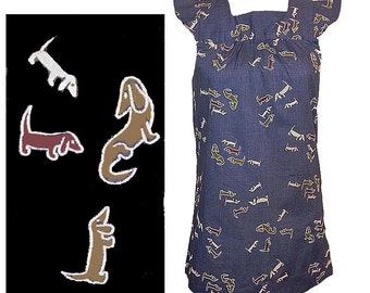 Vintage 50s 60s novelty print wiener dogs blouse shirt top