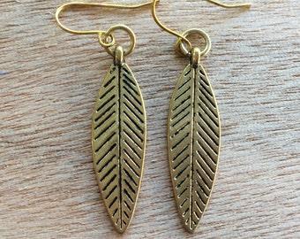 LF05 Feather Earrings: Gold