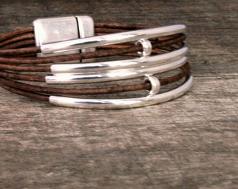 Leather Bracelet/Sterling silver bracelet/ Cuff/ Bangle/Chic/ Contemporary/Eco Friendly leather/Iseadesigns