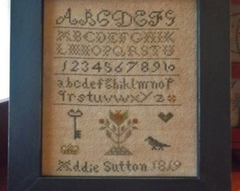 Completed Cross Stitch Primitive Addie Sutton Sampler, finished stitch, Schoolgirl sampler,Folk Art Primitive