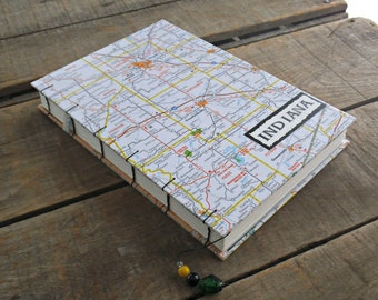 Large Blank Indiana Map Travel Journal, Coptic Stitch Journal, Travel Notebook, Large Indiana Map Travel Writing Journal, Map Sketchbook