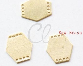 20pcs Raw Brass Hexagon Link - 13x12mm (2001C-P-338)
