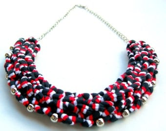 Colorful Braided Necklace, Woven Necklace, 4th of July Necklace, American flag Necklace, Statement Necklace, Memorial day Accessories.
