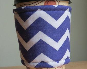 Handmade Coffee Cozy or Sleeve in Purple and White Chevron ,Coffee Sleeve, Cup Sleeve