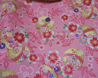 Kimono print Japanese fabric Half meter 50 cm by 106 cm or 19.6 by 42 inches