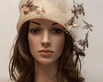 Cloche Hat Beige with golden bronze leather butterflies-New beautiful hat for races, weddings, summertime