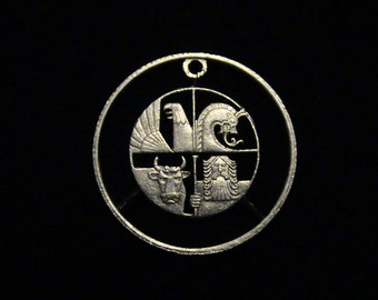Iceland - cut coin pendant - w/ Eagle, Bull, Dragon and Giant - 1984