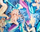 Fat Quarter -Sea Sirens Mermaid Print  Pin Up Nudes Fabric by Alexander Henry 7825 Blue