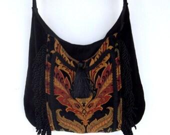Fringed Gypsy Tapestry Bag  Messenger Renaissance Crossbody Black Velvet Boho Purse
