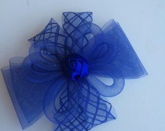 SINAMAY FASCINATOR , with Feathers, Navy blue, Royal blue /  F - 27