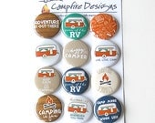 CAMPING Flair Buttons or Badges for scrapbooking-RV or Vintage CAMPER theme