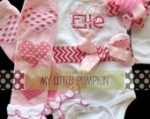 Valentine's Day - Monogrammed Bodysuit with matching leg warmers and hairbow - Hot Pink Chevron and Light Pink Polka-Dots