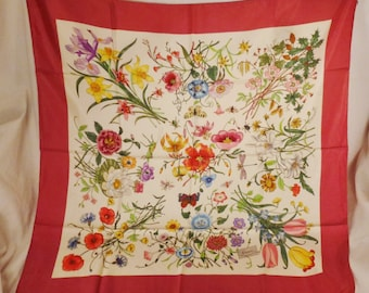 """GUCCI Signed Designer 1970s Silk Scarf Flower  and buzzing insects  34""""L 34"""" W excellent condition"""