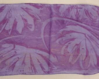 VINTAGE SCARF Handcrafted SILK Gauze Foliage Tie Dye Purple long hand hemmed app 33 x 8 in great condition