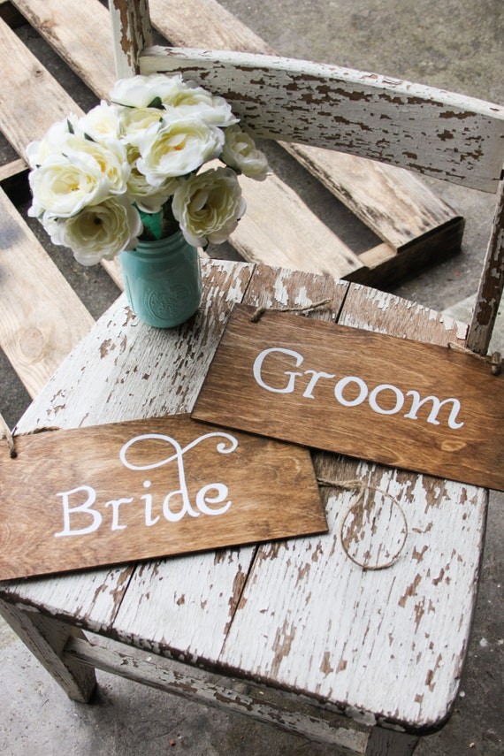 Hand Lettered Signs - Bride and Groom - Rustic Wedding Decor