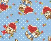 Clearance FABRIC JAPANESE Dear Little World KITTENS on Blue Polka Dots 1/2 yard