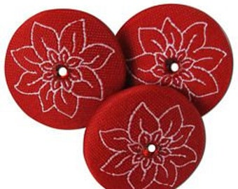 BUTTONS CHRISTMAS Poinsettia Fabric Embroidered Jewel set of 3 buttons