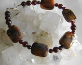 Pietersite Garnet and Sterling Silver Gemstone Bracelet