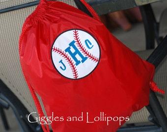 Boys girls personalized baseball sports or cars cinch sak backpack ring bearer flower girl gift