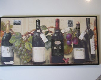 Wine Lovers Kitchen Wall Decor Plaque Colorful Grapes Tuscany Italian French European Bistro theme pictures