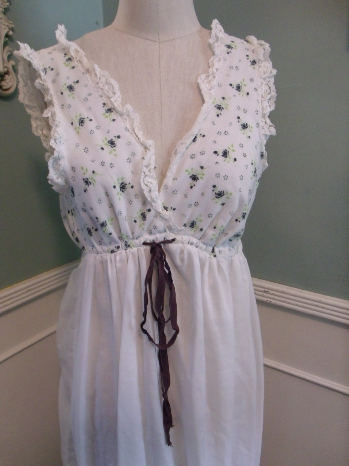 Vintage White Cotton Full Length Nightgown By