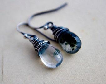 Drop Earrings, Gemstone Earrings, Terrarium Jewelry, Lodolite, Garden Quartz, Sterling Silver, Dangle Earrings, Crystal Earrings, PoleStar