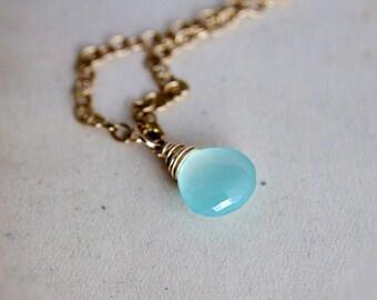 Aqua Pendant Necklace, Chalcedony Necklace, Blue Chalcedony, 14K gold filled, Beach Jewelry, Wedding Jewelry, Bridal Necklace, PoleStar
