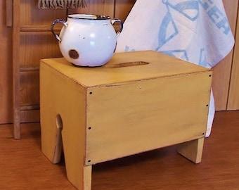 Primitive Step Stool Wooden Bench Kitchen Bathroom Farmhouse Utility / Farmhouse Tan / Color Choice