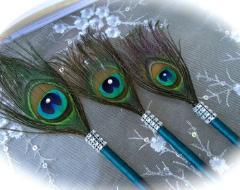 12 Peacock Feather Pen Favors with BLING in your choice of SIZE and COLOR!