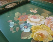 Serving Tray/Foral Metal Sering Tray/Green Tole Floral Metal Serving Tray/Shabby Chic/Cottage Chic/Entertaining/Beverages